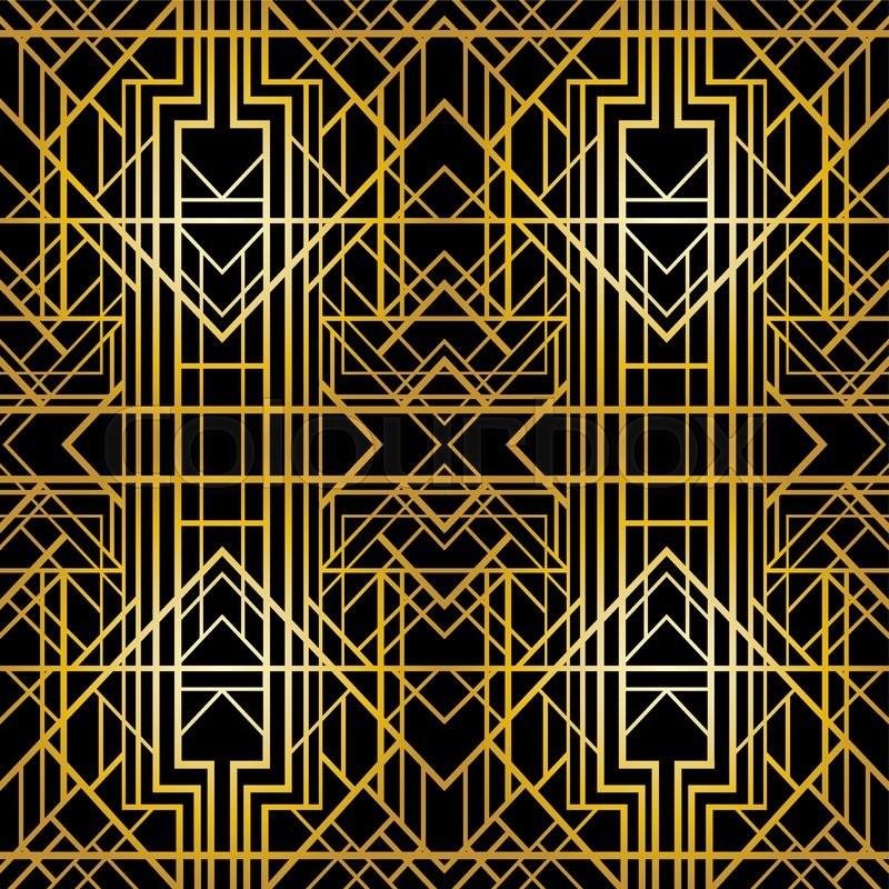 awesome Art Deco Geometric Wallpaper Part - 3: Art deco geometric pattern (1920u0027s style), seamless wallpaper, vector  illustration   Stock Vector   Colourbox
