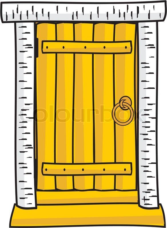 Wooden door - cartoon style | Stock Vector | Colourbox