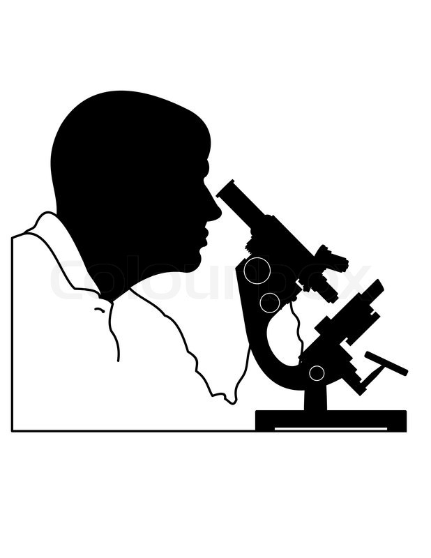 Silhouette Of Man S Head And Microscope Isolated