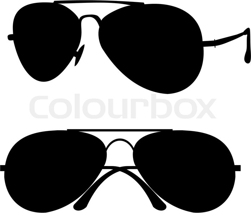 Black classical sunglasses in metal frame - isolated ...