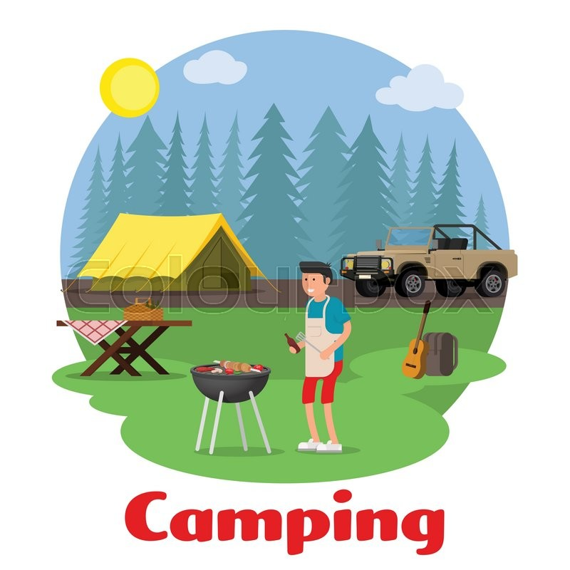 Camping and outdoor recreation concept. Man of cooking meat with a grill on a forest glade. Forest camp with a tent and a jeep. Vector illustration, vector