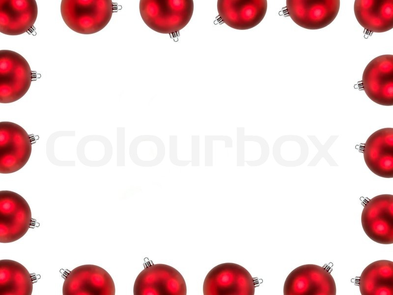 Christmas Decorations Border Isolated Against A White Background