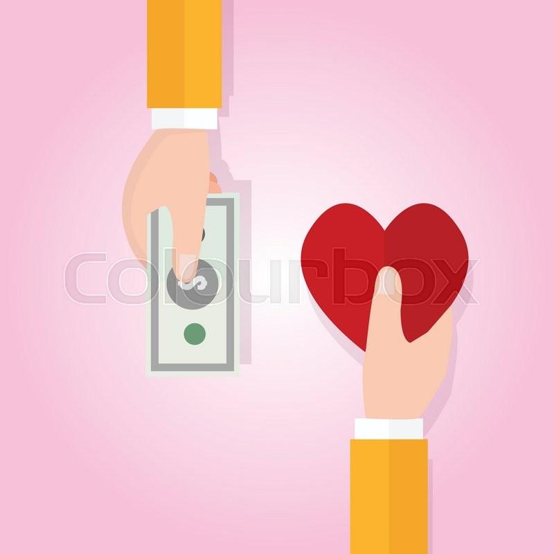Money Buying Love Happiness Heart Shape Symbol Price Vector Stock
