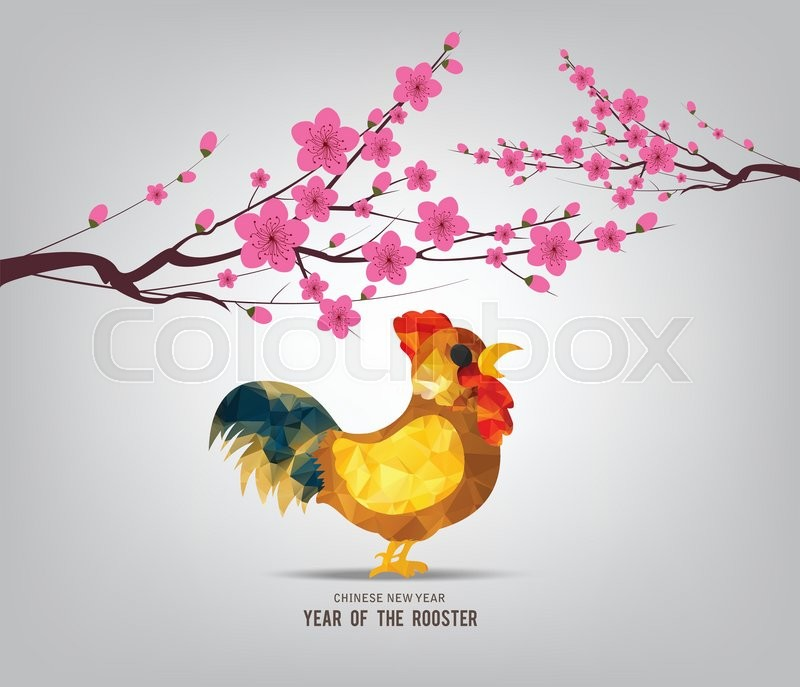 Blossom chinese new year 2017 rooster     | Stock vector