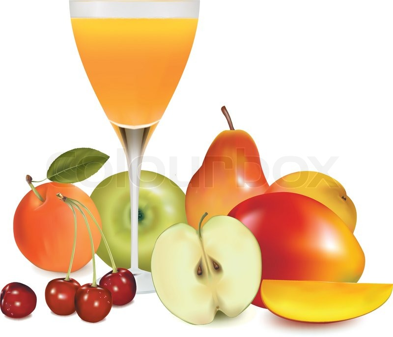 fresh fruit and juice vector illustration stock vector colourbox