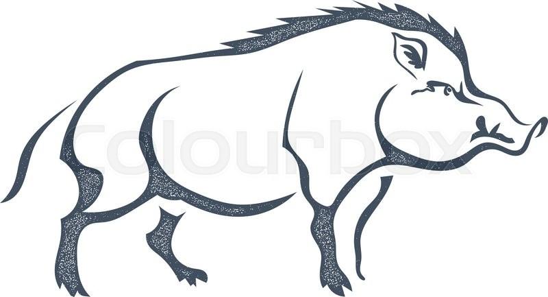 Sketch grunge wild boar in the profile.Stock vector illustration ...