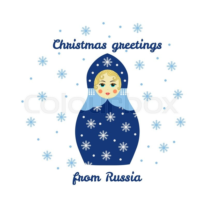 Christmas greetings from russia card with russian traditional christmas greetings from russia card with russian traditional wooden toy babushka matryoshka new year theme vector illustration m4hsunfo