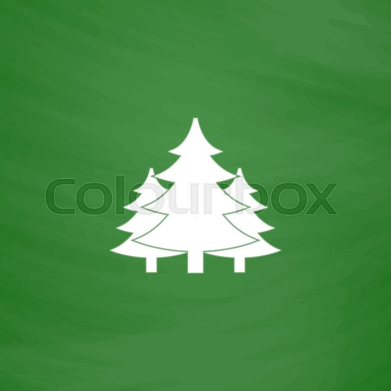 Tree Christmas Fir Tree Flat Icon Imitation Draw With White Chalk