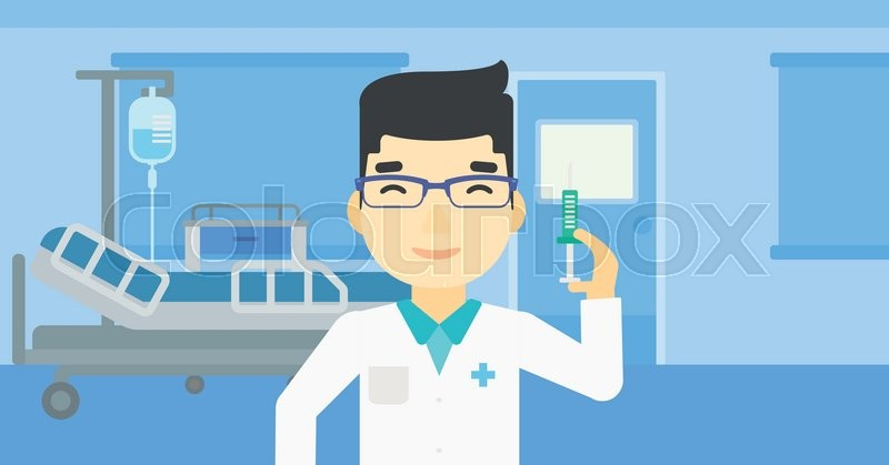 An asian male doctor holding medical injection syringe. Doctor with syringe in hospital ward. Doctor holding a syringe ready for injection. Vector flat design illustration. Horizontal layout, vector