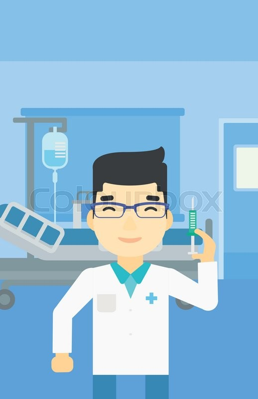 An asian male doctor holding medical injection syringe. Doctor with syringe in hospital ward. Doctor holding a syringe ready for injection. Vector flat design illustration. Vertical layout, vector
