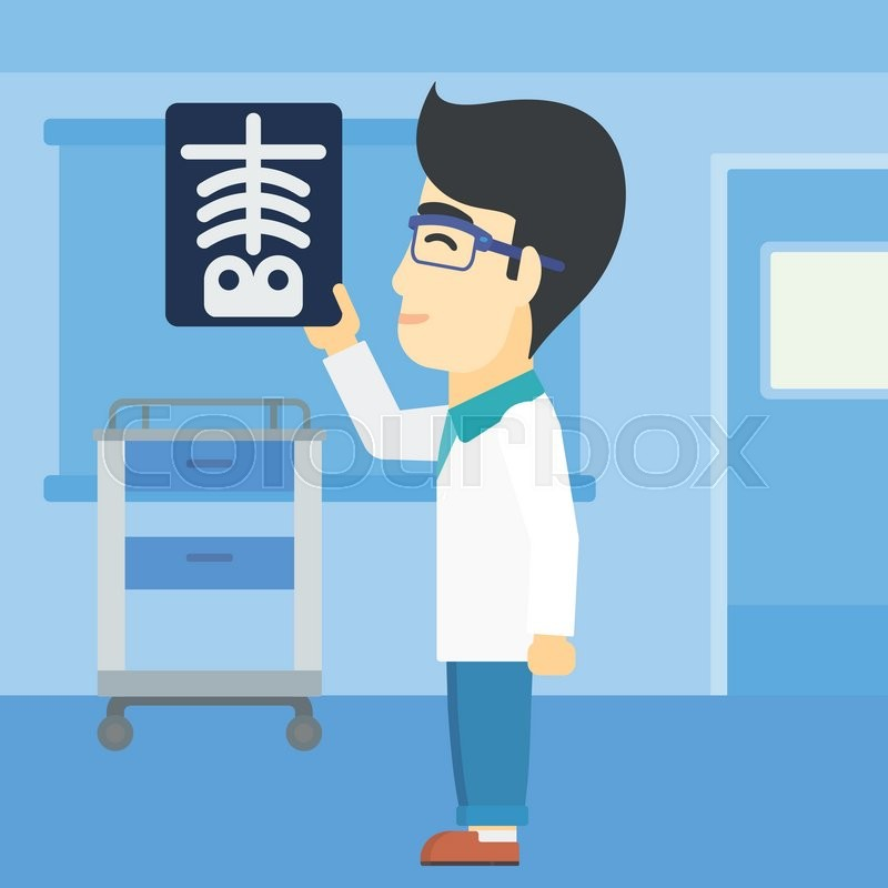 An asian doctor examining a radiograph. Doctor looking at a chest radiograph in the medical office. Doctor observing a skeleton radiograph. Vector flat design illustration. Square layout, vector