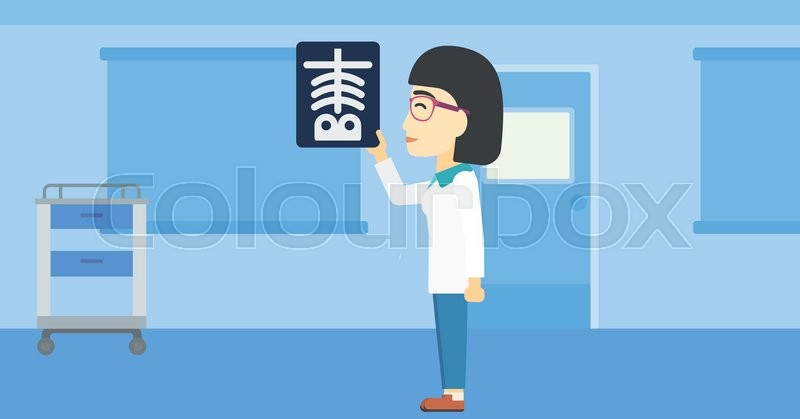 An asian female doctor examining a radiograph. Doctor looking at a chest radiograph in the medical office. Doctor observing a skeleton radiograph. Vector flat design illustration. Horizontal layout, vector