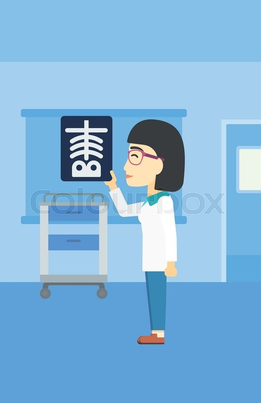 An asian female doctor examining a radiograph. Doctor looking at a chest radiograph in the medical office. Doctor observing a skeleton radiograph. Vector flat design illustration. Vertical layout, vector