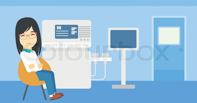 An asian female ultrasound doctor sitting with arms crossed. Female doctor sitting near modern ultrasound equipment at medical office. Vector flat design illustration. Horizontal layout, vector