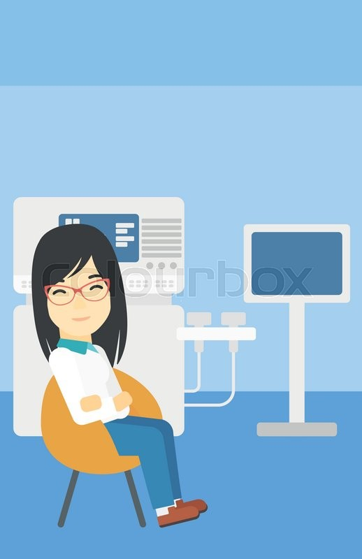 An asian female ultrasound doctor sitting with arms crossed. Female doctor sitting near modern ultrasound equipment at medical office. Vector flat design illustration. Vertical layout, vector