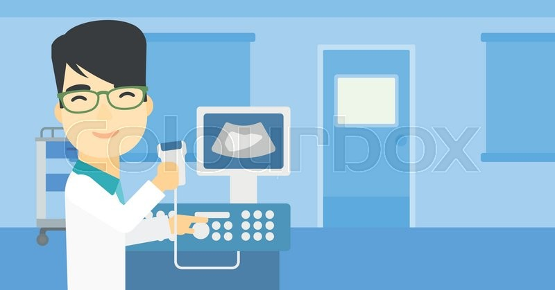 An asian young male doctor with ultrasound scanner in the hands. Male doctor working on modern ultrasound equipment at medical office. Vector flat design illustration. Horizontal layout, vector