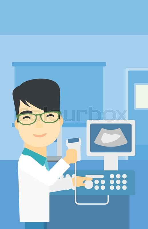An asian young male doctor with ultrasound scanner in the hands. Male doctor working on modern ultrasound equipment at medical office. Vector flat design illustration. Vertical layout, vector