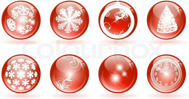 set of different glossy balls with christmas and new year themes stock vector colourbox