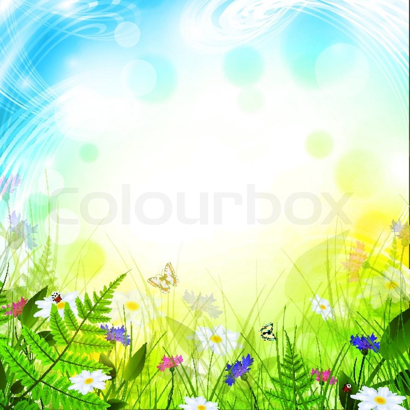 Stock vector of 'Summer meadow with flowers ower bright background'