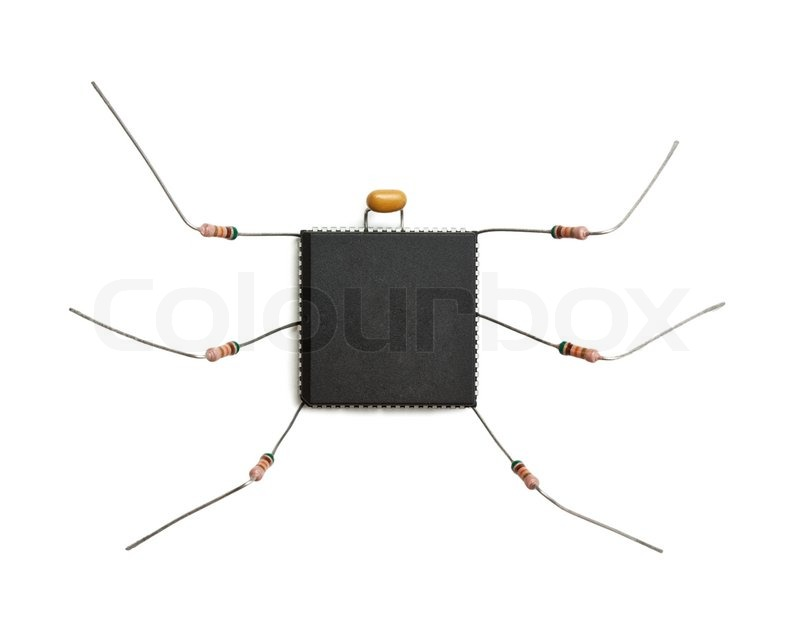 Stylized computer virus of electronic components isolated on white ...