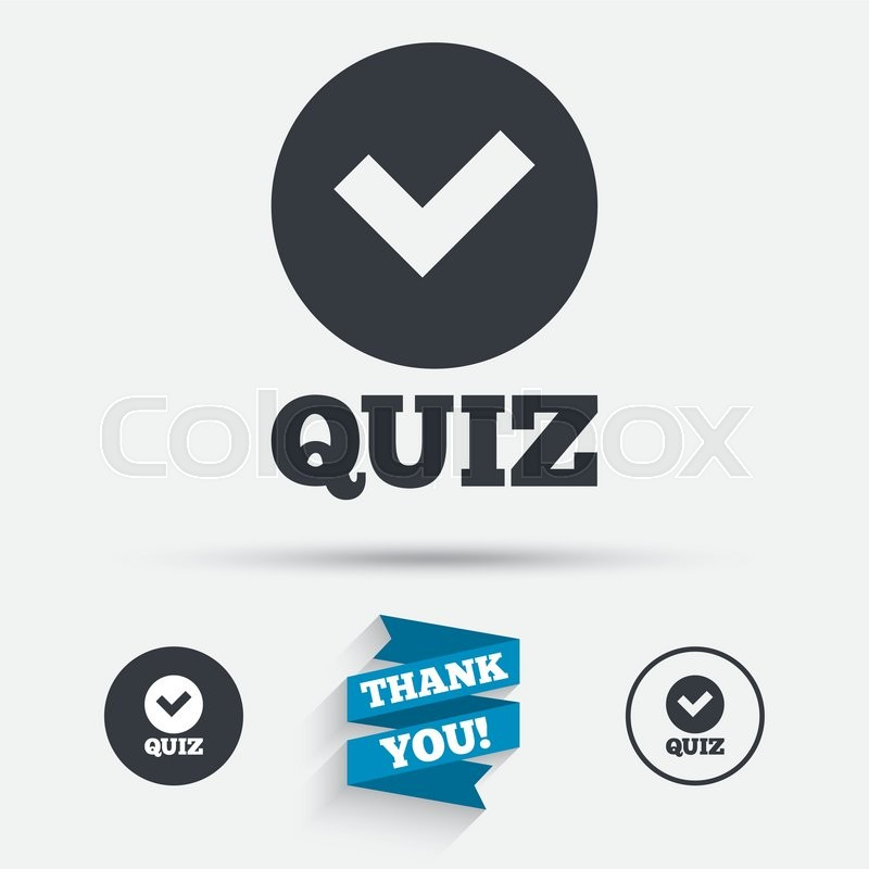 Quiz With Check Sign Icon Questions And Answers Game Symbol Flat