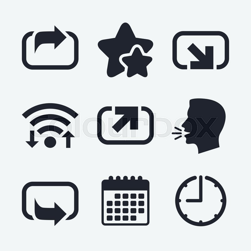Action Icons Share Symbols Send Forward Arrow Signs Wifi Internet