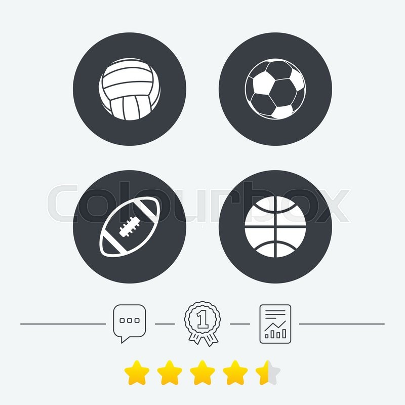 Sport balls icons. Volleyball, Basketball, Soccer and American football signs. Team sport games. Chat, award medal and report linear icons. Star vote ranking. Vector, vector