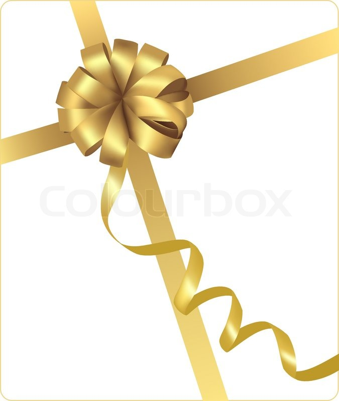 big gift gold bow with a ribbon vector stock vector colourbox