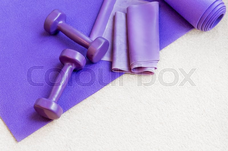 Fitness yoga pilates equipment props on a carpet, stock photo