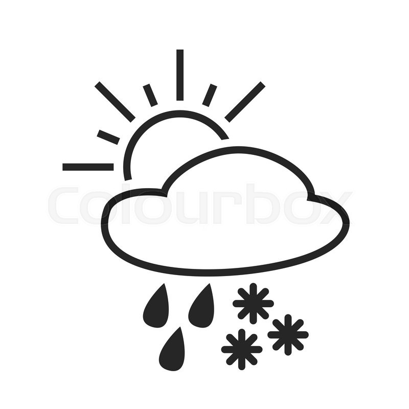 Heavy Rain With Snow Sleet Shower Day Weather Forecast Icon