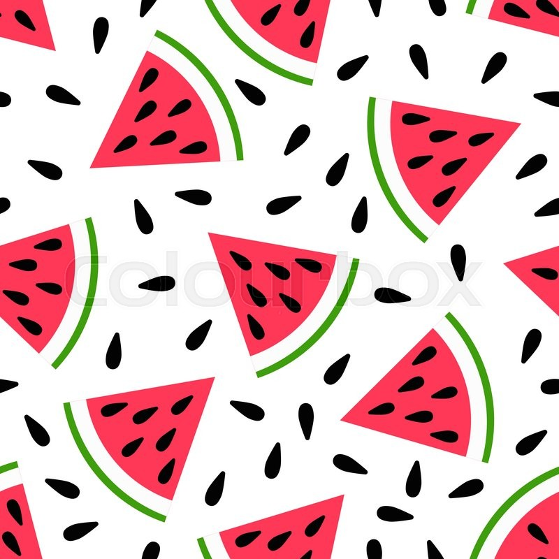 Cute Seamless Watermelon Pattern On White Background Vector