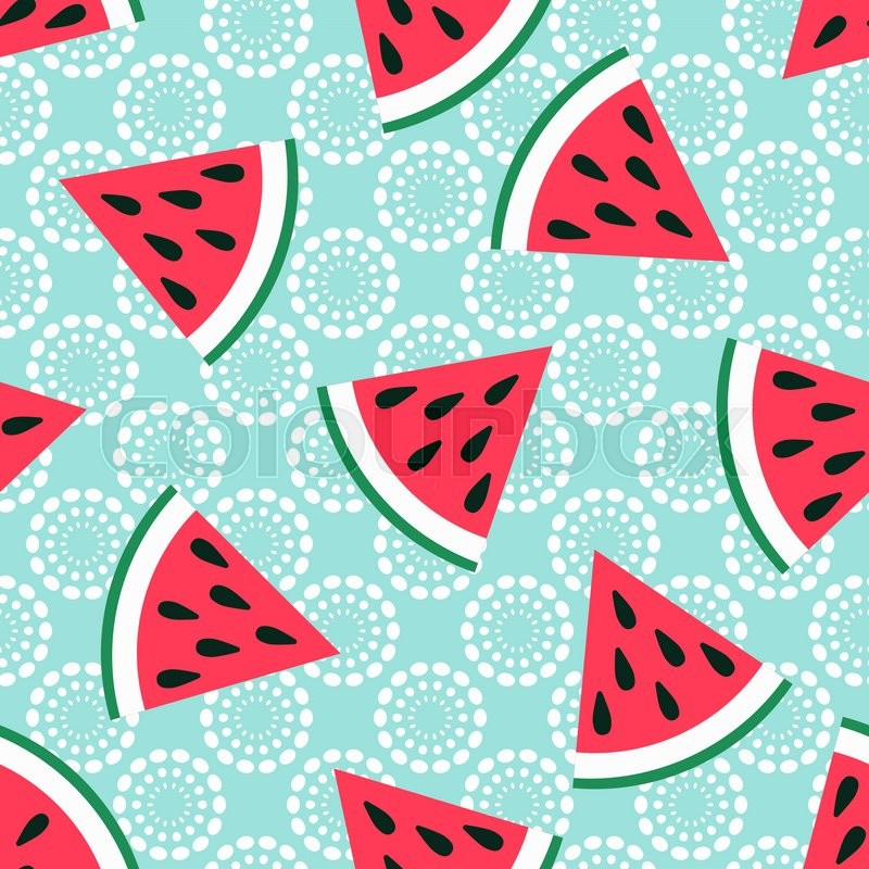 Cute Seamless Watermelon Pattern On Blue Background Vector