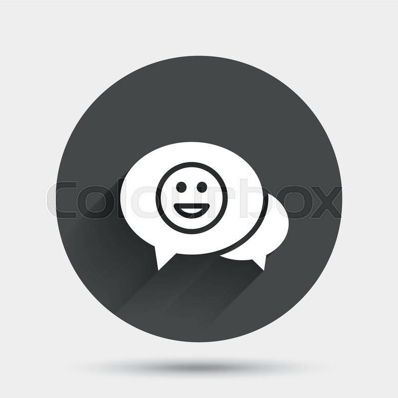 Chat Smile Icon Happy Face Chat Symbol Circle Flat Button With