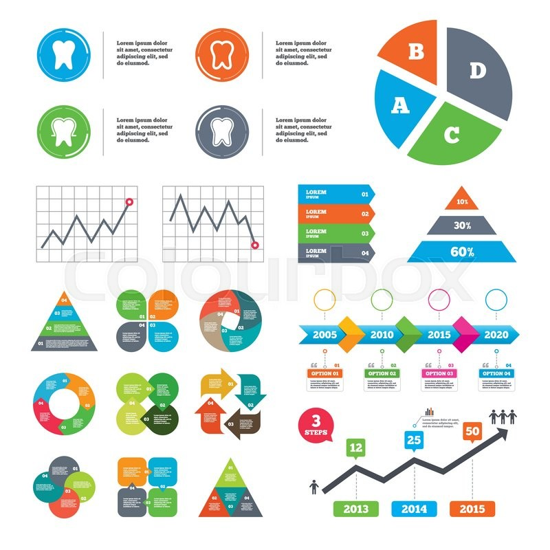 Data Pie Chart And Graphs Tooth Enamel Protection Icons Dental Care Signs Healthy Teeth Symbols Presentations Diagrams Vector