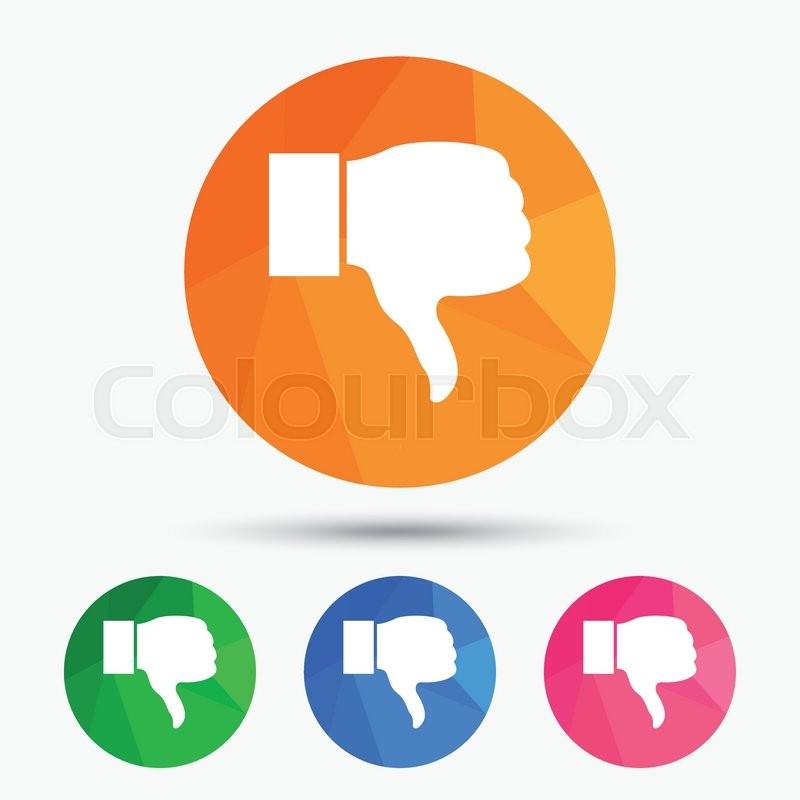 Dislike Sign Icon Thumb Down Sign Hand Finger Down Symbol