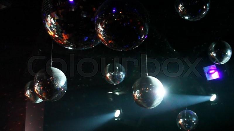 Vielen Spiegel Kugeln Und Licht Lampen Stock Video Colourbox