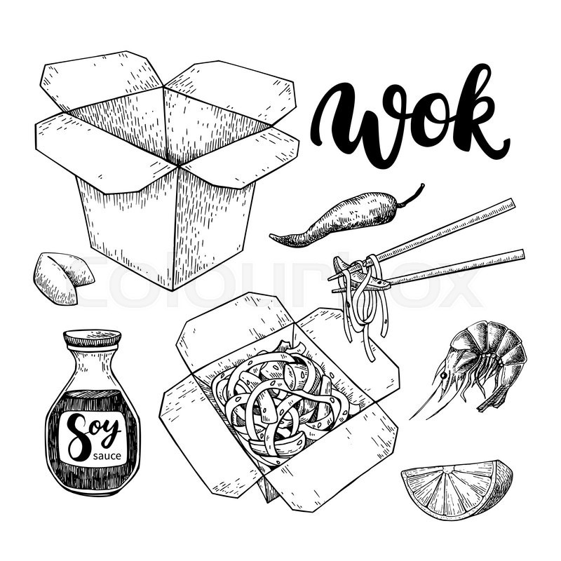 Wok Vector Drawing With Lettering