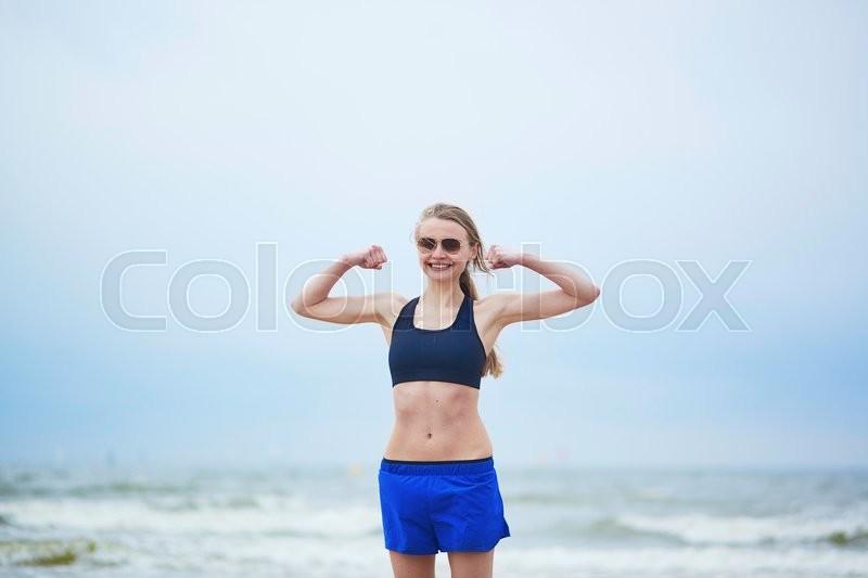 Healthy Fitness Runner Girl Wearing Stock Image