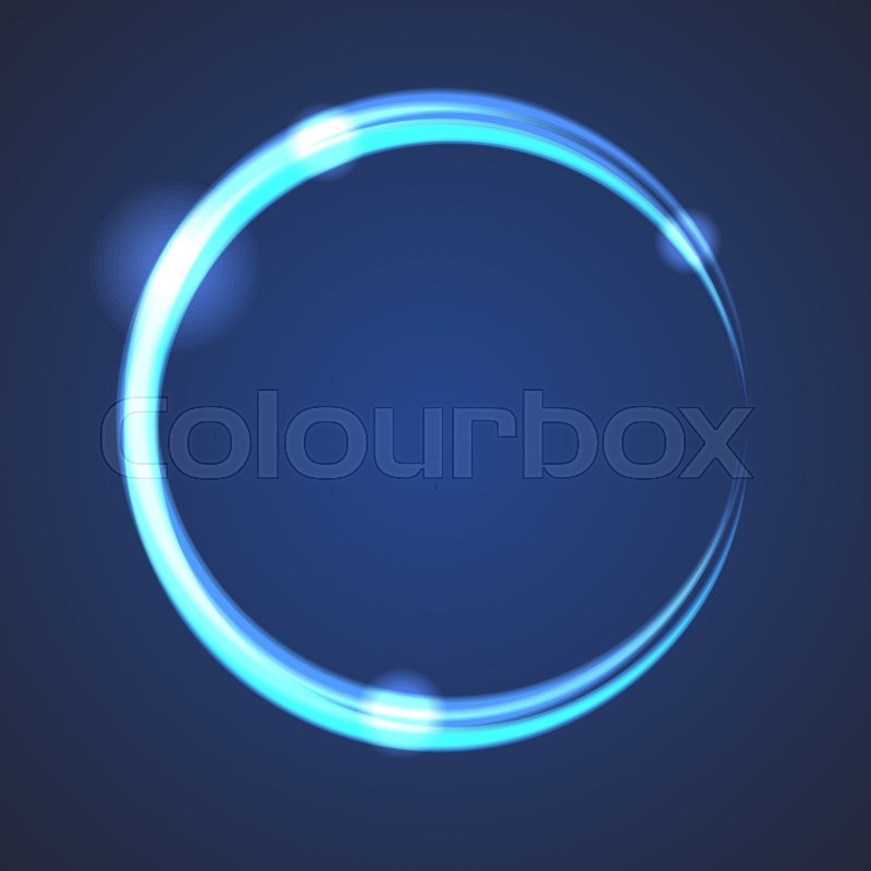 glow effect eclipse circle vector neon light blue rings on dark