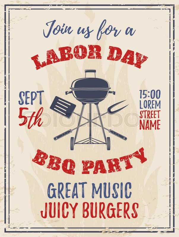 vintage labor day bbq party background barbecue poster brochure or