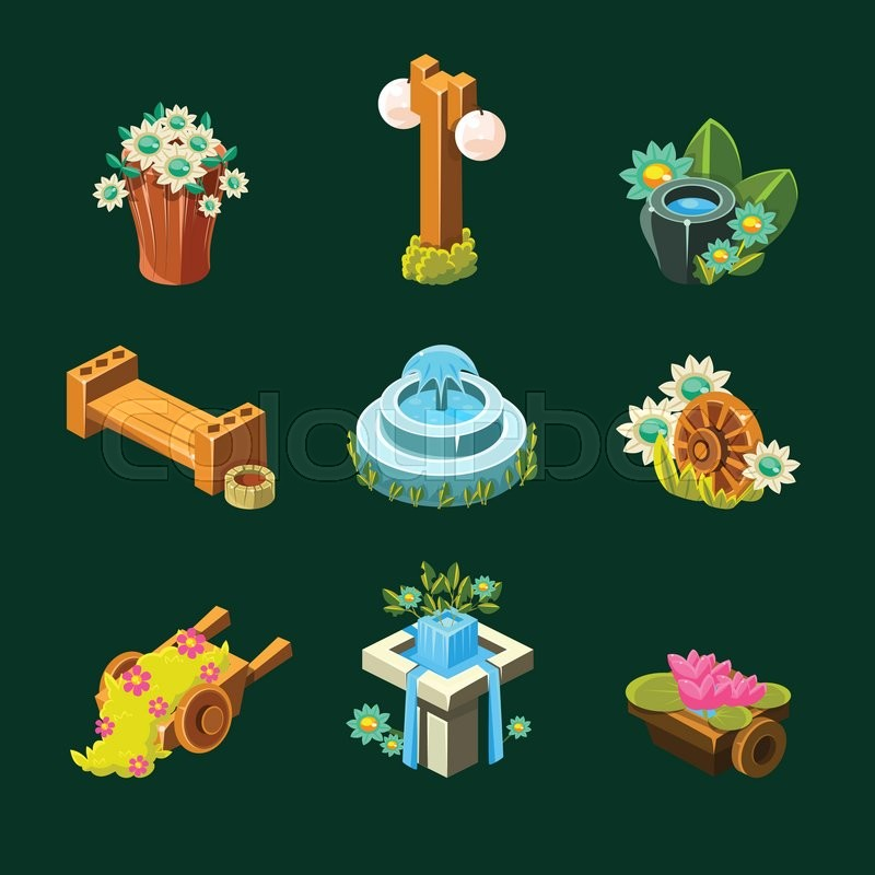 Video Game Garden Decoration Collection Of Elements In Cute Vector Delectable Garden Design Games Collection