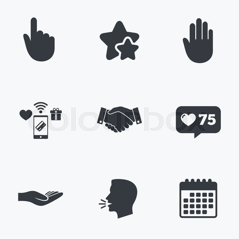 Hand icons. Handshake successful business symbol. Click here press sign. Human helping donation hand. Flat talking head, calendar icons. Stars, like counter icons. Vector, vector