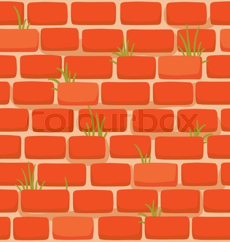 Seamless Texture Of A Cartoon Brick Wall With Grass