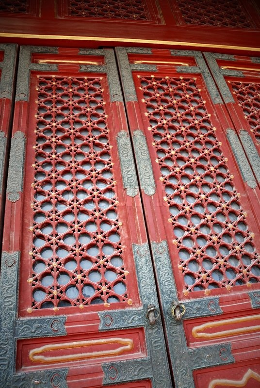 Old Traditional Chinese Gate In Forbidden City Stock