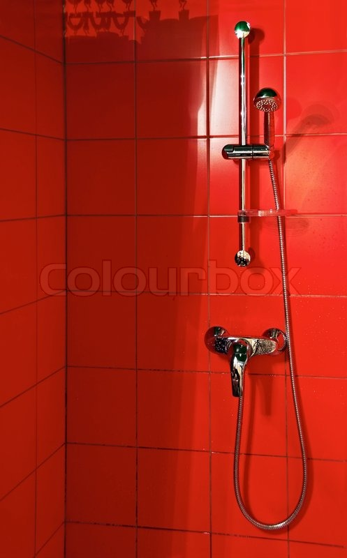 Bright red shower cubicle | Stock Photo | Colourbox