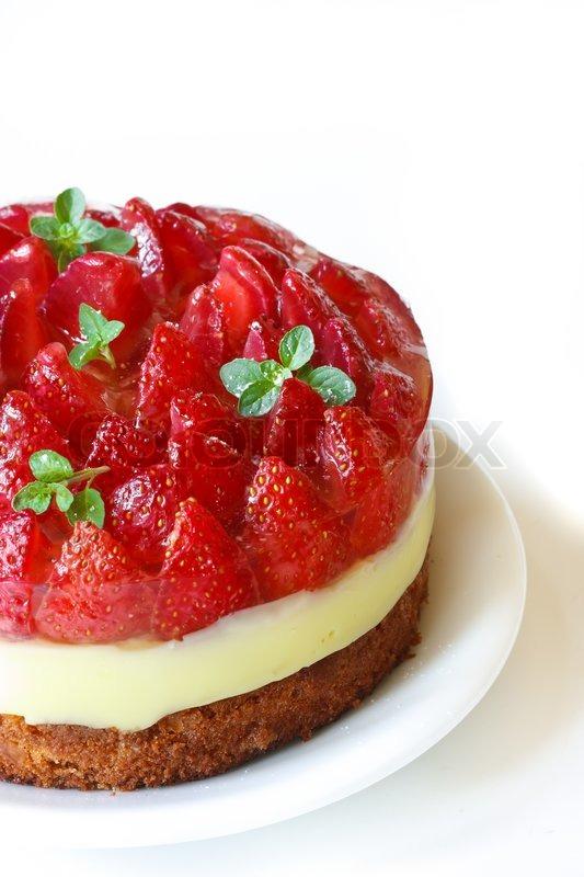 hausgemachte kuchen mit sahne und marmelade erdbeeren stock foto. Black Bedroom Furniture Sets. Home Design Ideas