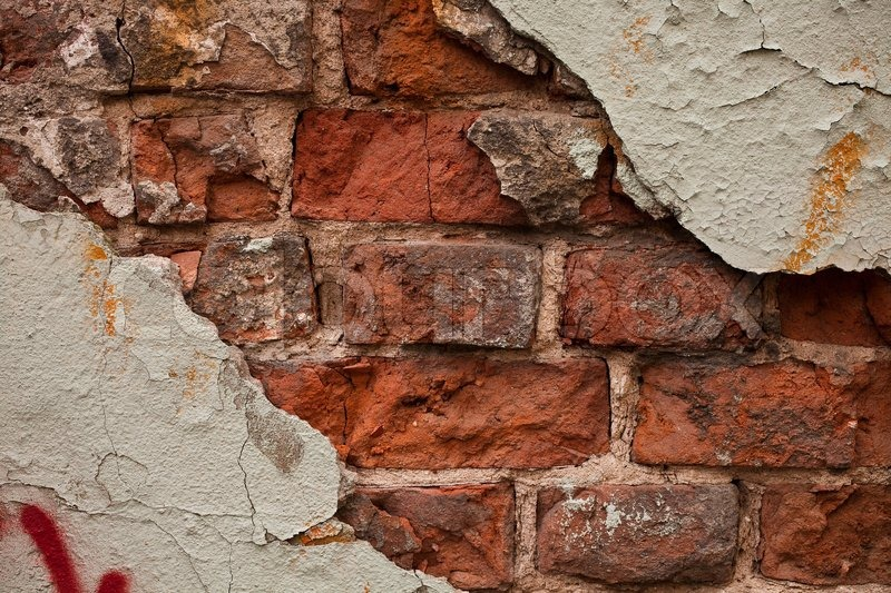 Surface Texture Brick Wall With Cracked Plaster Close Up Stock Photo Colourbox