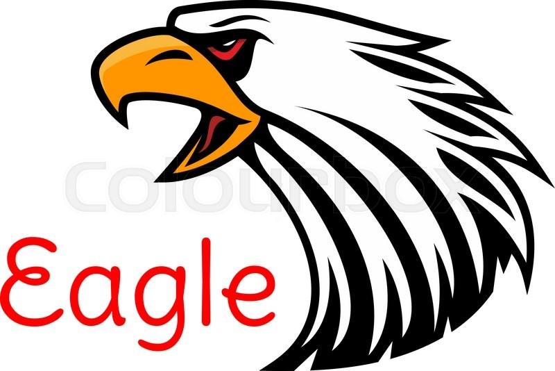 Bald Eagle Head Vector Emblem Crying Hawk Label For Team Mascot