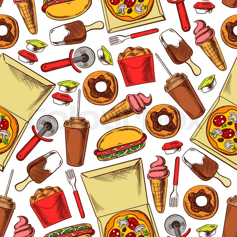 Fast food snacks, drinks and desserts. Seamless pattern background. Wallpaper with color sketch icons of hot dog, pizza, ice cream, donut, coffee, chicken wings and legs basket, vector