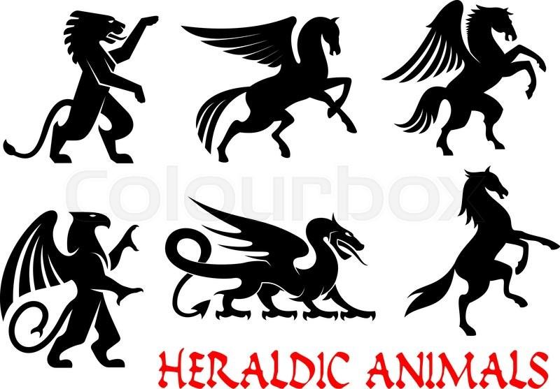 Heraldic Animals Icons Pegasus Griffin Dragon Lion